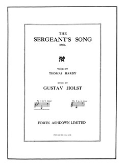 Gustav Holst: The Sergeant's Song Op.15 No.3 (G Minor Version) Books | Voice, Piano Accompaniment
