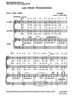 Franz Schubert: Air From Rosamunde Books | 2-Part Choir, Piano Accompaniment