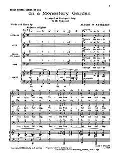 Albert Ketelbey: In A Monastery Garden (SATB) Books | Soprano, Alto, Tenor, Bass, Piano