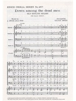 Down Among The Dead Men (TTBB) Arr. Idloes Owen Books | 2 Tenor, 2 Bass, Piano