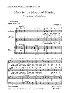 Thomas Morley: Now Is The Month Of Maying (2-Part) Libro | Coro en 2 Partes, Acompañamiento de Piano