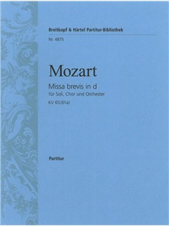 Wolfgang Amadeus Mozart: Missa Brevis In D KV 65 Books | SATB, Piano, Choral