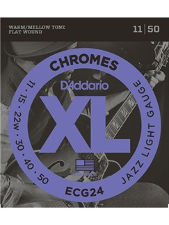 D'Addario: ECG24 Chromes Flat Wound Electric Guitar Strings, Jazz Light, 11-50  | Electric Guitar