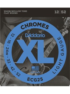 D'Addario: ECG25 XL Chromes Flat Wound Light 12-52 Electric Guitar String Set  | Electric Guitar