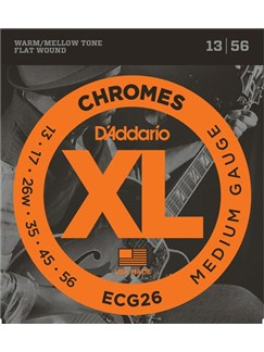 D'Addario: ECG26 Chromes Flat Wound Medium (13-56)  | Electric Guitar