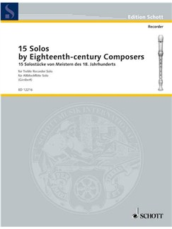 15 Solos by Eighteenth-Century Composers, for Treble Recorder Books | Alto (Treble) Recorder