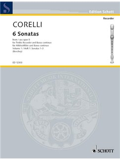Corelli; 6 Sonatas Op 5 book 1, Nos 1-3 for Treble Recorder and Continuo Books | Continuo, Alto (Treble) Recorder