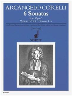 Corelli; 6 Sonatas Op 5 book 2, Nos 4-6 for Treble Recorder and Continuo Books | Continuo, Alto (Treble) Recorder