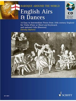 English Airs & Dances; 16 pieces from 18th-Century England for Violin (flute or oboe) and Keyboard. With CD Books | Keyboard, Violin, Soprano (Descant) Recorder