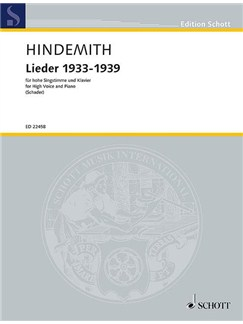 Paul Hindemith: Lieder 1933-1939 Books | High Voice, Piano Accompaniment