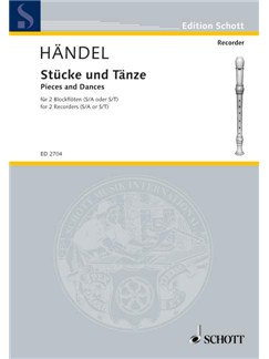 Handel; Pieces and Dances for two Recorders Books | Soprano (Descant) Recorder, Recorder Ensemble, Alto (Treble) Recorder