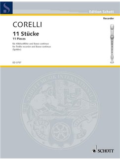 Corelli; 11 Pieces for Treble Recorder and Continuo Books | Continuo, Alto (Treble) Recorder