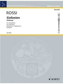 Rossi: Sinfonias for Three Recorders Books | Recorder Ensemble