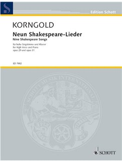 Korngold: Nine Shakespeare Songs Op.29/Op.31 Books | High Voice, Piano Accompaniment