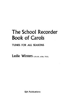 The School Recorder Book Of Carols Bog | Ensemble, Klaverakkompagnement, Blokfløjteensemble
