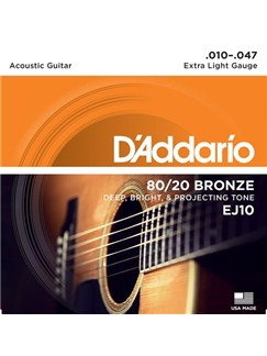 D'Addario: EJ10 80/20 Bronze Round Wound Extra Light 10-47 - Acoustic Guitar String Set  | Acoustic Guitar