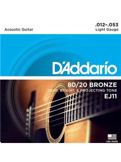 D'Addario: EJ11 80/20 Bronze Round Wound Light 12-53 Acoustic Guitar String Set  | Acoustic Guitar