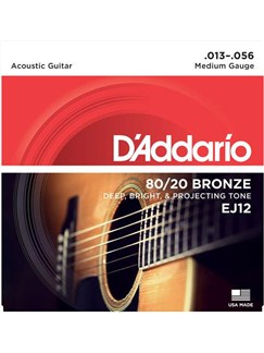 D'Addario: EJ12 80/20 Bronze Round Wound Medium 13-56 Acoustic Guitar String Set  | Acoustic Guitar