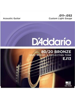 D'Addario: EJ13 80/20 Bronze Round Wound Custom Light 11-52 Acoustic Guitar String Set  | Acoustic Guitar