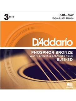 D'Addario: EJ153D Phosphor Bronze Acoustic Guitar String Set - Extra Light (3 Pack)  | Guitar