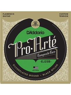 D'Addario: EJ25B Pro Arte Black Nylon Composite Flamenco Guitar Strings  | Guitar