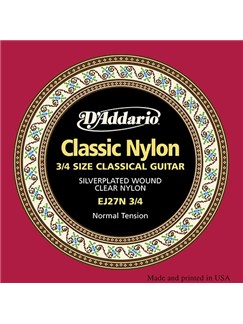 D'Addario: EJ27N34 Classics Silverplated Wound Clear Nylon 3/4 Guitar String Set - Normal Tension  | Classical Guitar
