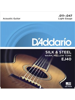 D'Addario: EJ40 Silk & Steel Folk Guitar Strings, 11-47  |