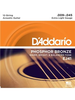 D'Addario: EJ41 12-String Phosphor Bronze, Extra Light, 9-45  | Guitar
