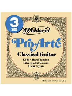 D'Addario: EJ46 Pro-Arte Nylon Hard Tension - 3 Pack  | Classical Guitar