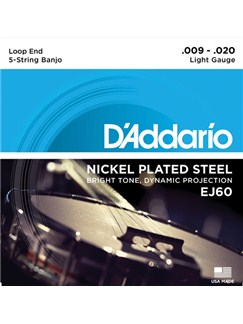 D'Addario: EJ60 5-String Banjo Strings, Nickel, Light, 9-20  | Banjo
