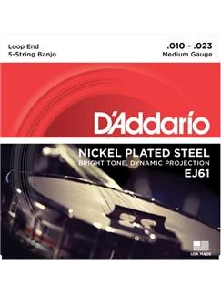 D'Addario: EJ61 5-String Banjo Strings, Nickel, Medium 10-23  | Banjo