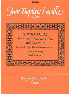 Jean Baptiste Loeillet: Six Sonatas For Flute Volume 2 Books | Flute or Oboe or Violin, Continuo