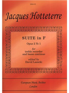 Jacques Hotteterre 'le Romain': Suite in F for Treble Recorder and Continuo Books | Alto (Treble) Recorder, Continuo