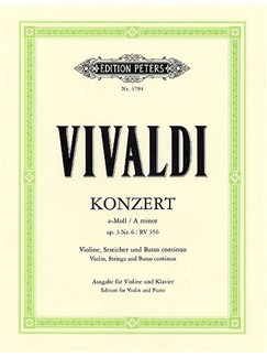 Antonio Vivaldi: Violin Concerto In A Minor Op.3 No.6 RV 356 Books | Violin, Piano Accompaniment