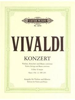 Antonio Vivaldi: Concerto In E Op. 3 No.12 RV 265 Books | Violin, Piano Accompaniment