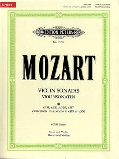 W.A. Mozart: Violin Sonatas Volume 3 (Edition Peters Urtext) Books | Violin, Piano Accompaniment