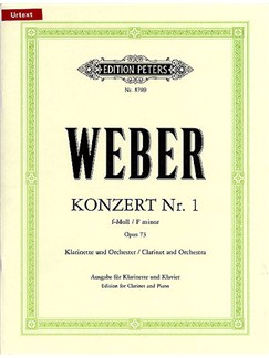 Carl Maria Von Weber: Concert No.1 In F Minor Op.73 (Edition Peters Urtext) Books | Clarinet, Piano
