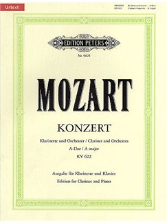 W.A. Mozart: Concerto For Clarinet And Orchestra In A K.622 - Clarinet/Piano (Edition Peters Urtext) Books | Clarinet, Piano Accompaniment