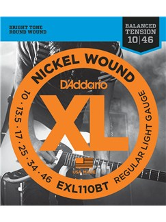D'Addario: EXL110BT Nickel Wound Electric Guitar Strings, Balanced Tension Regular Light, 10-46  | Elektrisk guitar