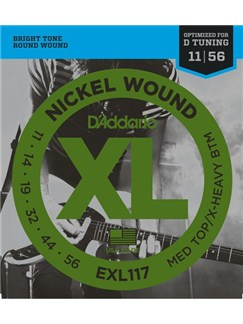 D'Addario: EXL117 Nickel Wound Electric Guitar Strings, Medium Top/Extra-Heavy Bottom, 11-56  | Electric Guitar