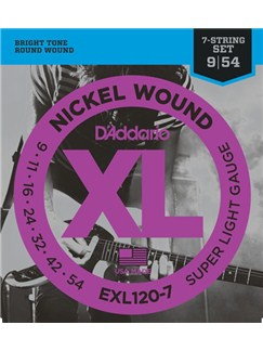 D'addario: EXL120-7 Super Light 7 String Electric Guitar String Set - Nickel Wound  | Electric Guitar