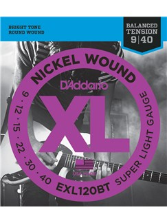D'Addario: EXL120BT Nickel Wound Super Light Balanced Tension Electric Guitar Strings – 9-40  | Electric Guitar