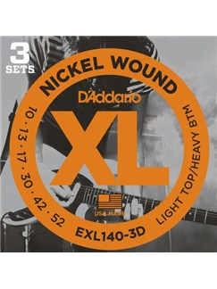 D'Addario: EXL140-3D Nickel Wound Electric Guitar Strings – 10-52 (3 Pack)  | Electric Guitar