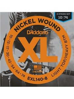D'Addario: EXL140-8 Nickel Wound, 8-String, Light Top/Heavy Bottom, 10-74  | Electric Guitar