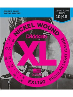 D'Addario: EXL150 Nickel Wound, 12-String, Regular Light, 10-46  | Electric Guitar