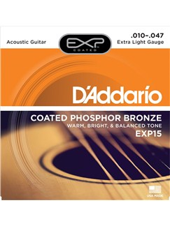 D'Addario: EXP15 Coated Phosphor Bronze Extra Light Acoustic Guitar Strings - 10-47  | Acoustic Guitar