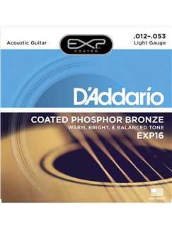 D'Addario: EXP16 Guitar Strings: Coated Phosphor Bronze - 12-53  |
