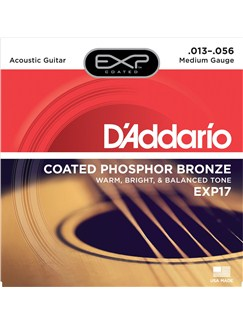 D'Addario: EXP17 Coated Phosphor Bronze Medium Acoustic Guitar Strings - 13-56  | Acoustic Guitar