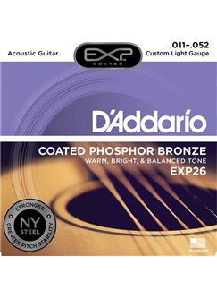 D'Addario: EXP26 Coated Phosphor Bronze Acoustic Guitar Strings, Custom Light, 11-52  | Acoustic Guitar