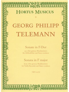 Georg Philipp Telemann: Sonata In F (From Der Getreue Musikmeister) (TWV 41: F2) Books | Alto (Treble) Recorder, Piano Accompaniment